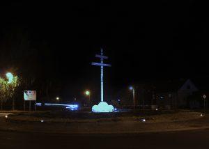 Solárne LED gombiky CS 24 nočná fotografia